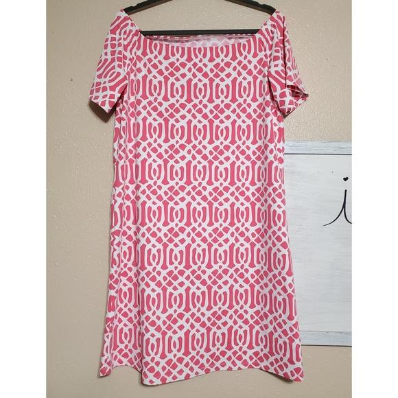J. McLaughlin pink and white lattice print dress